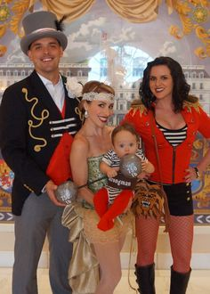 A very vintage circus: ringmaster, trapeze artist, baby strongman and lion tamer costumes www.Hammer-and-Heels.com