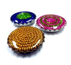 Glass bead filled bottle caps