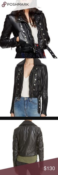 """Free People Asheville Vegan Moto Jacket The classic Motocycle jacket look with some feminine love. The Free People Ashville Vegan Moto Jacket features metal hardware and zipper pockets. It is cropped to the natural waist this style features a removable cozy collar. 100% Rayon Coated with Polyurethane. Sleeves from shoulder seam to bottom of the wrist are 25"""". Fully lined and cozy!! Currently retailing for $168!   Style# OB529133 Free People Jackets & Coats"""