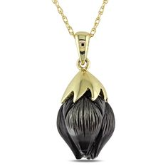 Miadora 10k Yellow Gold Carved Fancy Tahitian Black Pearl Drop Necklace (10-11 mm), Size 17 Inch