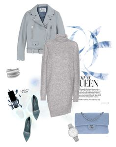 """""""Grey dress"""" by murenochek ❤ liked on Polyvore featuring Sergio Rossi, Chanel, Acne Studios, Topshop and David Yurman"""