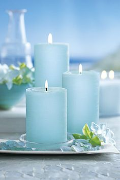 #GloLite by PartyLite #tropical waters set of three Pillars.  http://www.partylite.biz/debbiefreund