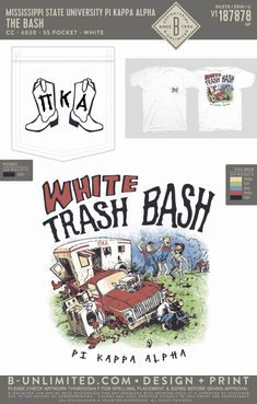Pi Kappa Alpha White Trash Bash Shirt   Fraternity Event   Greek Event #pikappaalpha #pike Sigma Phi Epsilon, Pi Kappa Alpha, White Trash Bash, Missouri State University, Mississippi State, Fraternity, Greek, Mixers, Shirts
