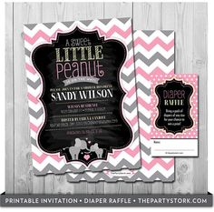 Elephant Baby Shower Invitation and Diaper Raffle by thepartystork