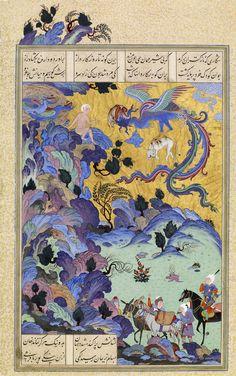 """شکاری که نازکتر آن برگزید که بیشیر مهمان همی خون مزید زال و سیمرغ، برگی از شاهنامه شاه تهماسب، منسوب به عبدالعزیز، دوره صفویان، تبریز، در حدود 1531-33 میلادی ZAL IS SIGHTED BY A CARAVAN Attributed to Abdul Aziz Iran, Tabriz, Safavid period, ca. 1525 Opaque watercolor, ink, and gold on paper Zal, the father of the hero Rustam, was """"born with a body like pure silver ... but his hair was that of an old man."""" An albino at birth, Zal's snow-white hair was considered an ill omen, and the newborn…"""