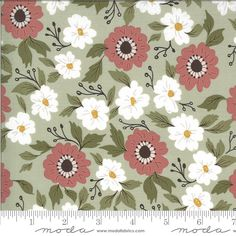 Dusty Rose White Green Floral Fabric, 5120 14, Moda Folktale Forest Path Sage, Lella Boutique, One 1 Yard Cut Bty by Jambearies on Etsy