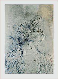 Monoprint by Pawel Krol Printmaking, Moose Art, Mixed Media, Portraits, Prints, Animals, Characters, Animales, Animaux