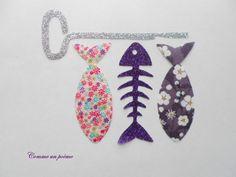 Appliqué thermocollant La brochette de poissons mitsi aubergine et violet : Autres pièces pour créations par comme-un-poeme