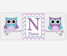 personalized baby nursery canvas wall art lavender purple teal you are my sunshine owls