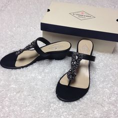 NWT ST. John's Bay black wedges 8 1/2 New with tags! ✨ They are black with beautiful grey jewels  no flaws, no trades St. John's Bay Shoes Wedges