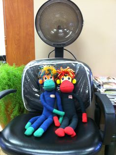 NoMo and Phoenix getting their hair did at Main Street Hair Design in Gothenburg, Nebraska. Yes, it takes lots-o-product to get this look!