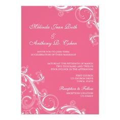 Wedding invitation - a delicate filigree swirl in honeysuckle pink. ♥ See matching products at http://www.zazzle.com/accentdesign/gifts?cg=196377458714762694&ps=120&rf=238252963030229232&tc=wpz ♥