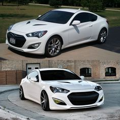 My mans2013 Hyundai Genesis Coupe. 3.8 rspec. Before and after.