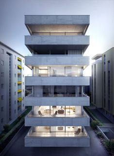 a f a s i a: Matteo Inches Building Front, Building Facade, Building Elevation, Building Design, Concrete Facade, Concrete Houses, Concrete Building, Architecture Design, Facade Design