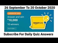 Amazon Pay Quiz | Win ₹10000 Amazon Pay Balance | 26 September To 20 October | Today Amazon Quiz - YouTube