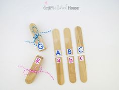 upper/lower case letter recognition activity with popsicle sticks
