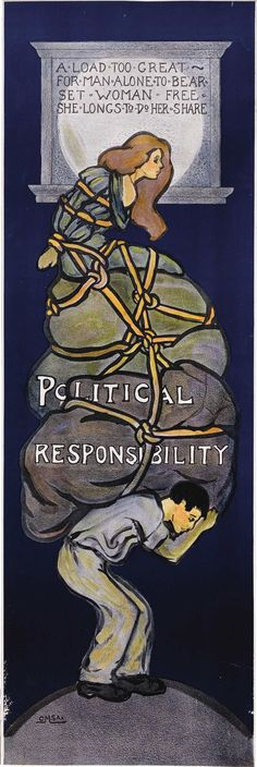 """Political Responsibility"" Suffrage Poster by O.M. Sax (1915)"