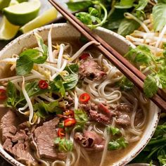 Beef Pho in a bowl, ready to be eaten- Recipetineats Asian Recipes, Beef Recipes, Soup Recipes, Cooking Recipes, Healthy Recipes, Ethnic Recipes, Beef Pho Soup Recipe, Vietnamese Pho Soup Recipe, Pho Recipe Oxtail