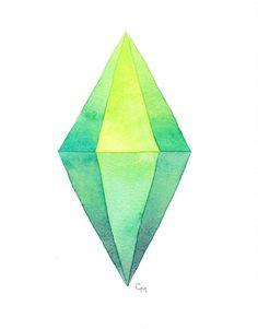 Sims Plumbob Sim Marker // 11x14 Watercolor Print Of Original Painting // Geekery Fan Art Sims 4  https://www.etsy.com/listing/209726715/sims-plumbob-sim-marker-11x14-watercolor?ref=shop_home_active_15