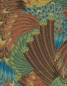 Legacy by Timeless Treasures Overlapping Leaves Rust 1 yard Egyptian Drawings, Timeless Treasures Fabric, Nature Artists, Art Deco Pattern, Japanese Patterns, Textures Patterns, Fabric Patterns, Art For Art Sake, Aboriginal Art