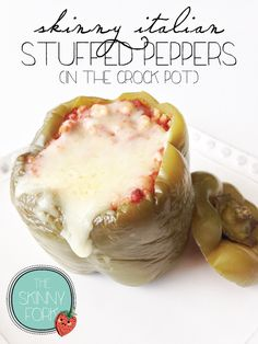 Skinny Italian Stuffed Peppers (Crock Pot) — Right at 300 calories for a totally satisfying all in one 'meal'!  Easy, cheesy, and super tasty! #TheSkinnyFork