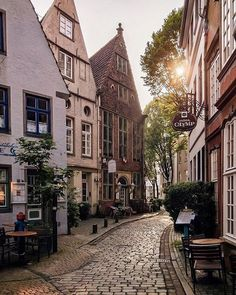 Old town Old buildings Old Houses Cobblestone street Beautiful