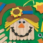 Wood Craftstick Scarecrow Banner Craft Kit. Fall craft ideas for children.