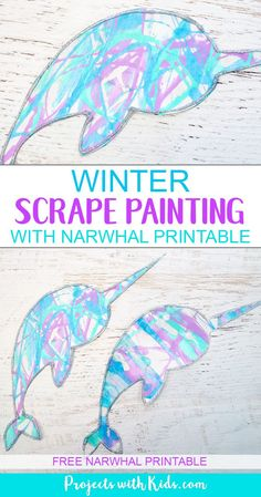 Winter Scrape Painting with Narwhal Printable - Winter Crafts for Kids - This winter scrape painting activity is a fun and super easy process art project that kids in presc - Winter Art Projects, Easy Art Projects, Winter Crafts For Kids, Craft Projects For Kids, Craft Ideas, Cool Kids Crafts, Arts And Crafts For Kids Easy, Preschool Projects, Children Crafts