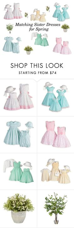 """""""Matching Sister Dresses"""" by woodensoldier on Polyvore featuring Nearly Natural, Diane James and Crate and Barrel"""