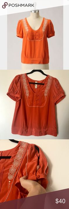 Anthor Floreat Tangerine Twist Silk Blouse In excellent condition all silk with embroidery reminisce of 1920 Great Gatsby style pleated placket and waist band. Brunt orange or rust color white embroidery around neck line and sleeves Anthropologie Tops Blouses