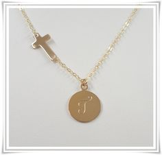 Sideways Cross Initial Necklace - Gold Filled - Celebrity Style. $40.00, via Etsy.