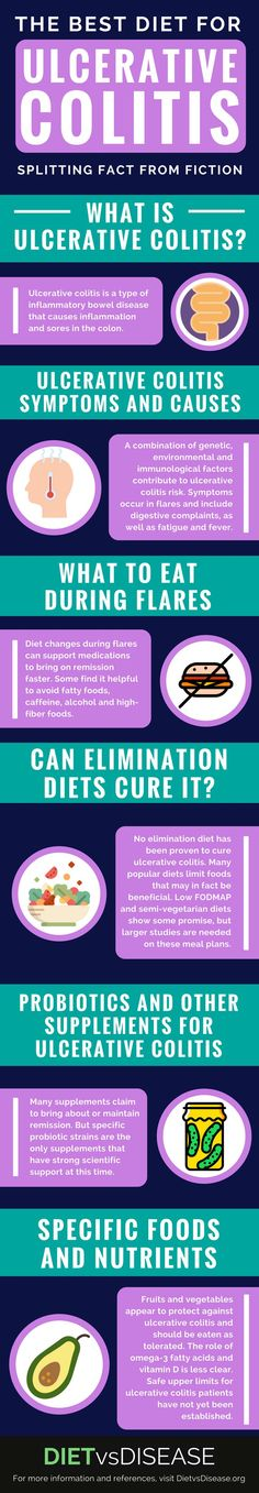 No single diet can cure ulcerative colitis. However, certain diet changes can greatly ease discomfort and symptoms. This article looks at the current research: https://www.dietvsdisease.org/ulcerative-colitis-diet/