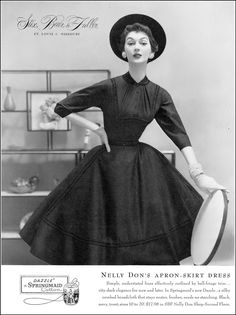 Dovima in silky broadcloth apron-skirt dress by Nelly Don, Vogue, August 1, 1954