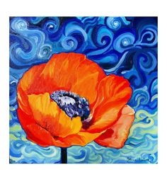 Poppy Painting - Red Crimson Flower in Blue Swirly Sky original art - Modern Flower Painting Impressionist Square Canvas Oil Painting