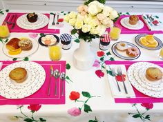 our willow court floral table linens serve as the perfect brunch backdrop. (kate spade new york home)