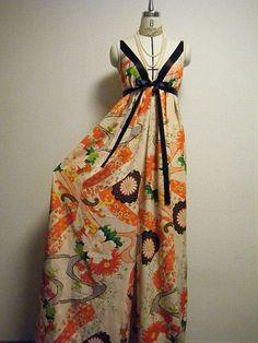 Maxi culotte dress | by yukarma Kimono Fabric, Kimono Dress, Kimono Style, Kimono Fashion, 70s Fashion, Fashion Outfits, Vintage Kimono, Vintage Dresses, Culotte Dress