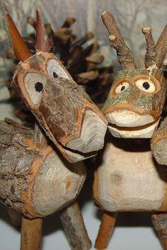 deer made of logs - Google Search
