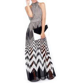 Black and White Stripes Chiffon Party Dress