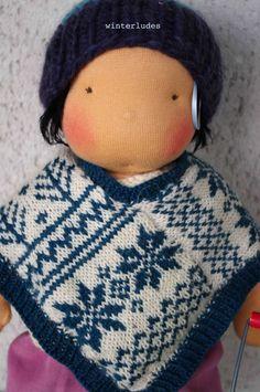 "pdf pattern: nordic jacquard poncho for 15-17"" doll"