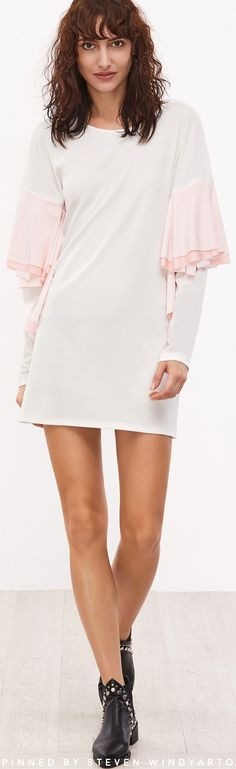 White Drop Shoulder Contrast Ruffle Trim Shift Dress #womenswear