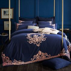 Get Best Price Embroidered Luxury Royal Bedding Set Egyptian Cotton Silky King Queen Size Boho Bed Set Duvet Cover Bed sheet set Cheap Bedding Sets, Cotton Bedding Sets, Queen Bedding Sets, Luxury Bedding Sets, Comforter Sets, Comforter Cover, Affordable Bedding, King Comforter, Bed Sets