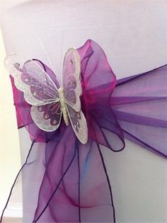 Chair Decor - Beautiful Organza with butterflies Wedding Chair Decorations, Wedding Chairs, Wedding Themes, Our Wedding, Wedding Venues, Dream Wedding, Wedding Services, Decor Wedding, Wedding Ideas