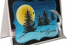 Stampin Up Scenic Season Brayer Night Sky by Tami White. http://stampwithtami.com/blog/2009/10/video-tutorial-brayered-night-sky-holiday-card