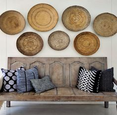 Love these baskets as artwork...and what about this bench?  Made out of two old doors?