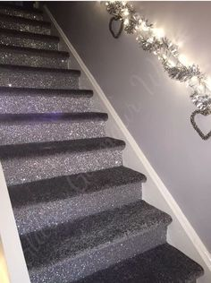 The glitter is a little much but a sink backsplash tile with the carpet stairs would look nice in the stairs from dining room upstairs to bedrooms #GlitterRoom