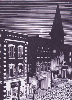 """Brattleboro Moon"" is a 7"" x 5"",  linoleum block print, handmade by William Hays at The Artist's Loft Gallery, 103 Main Street. The image is of the full moon setting behind the Hotel Pharmacy and Boomerang on Elliot Street in Brattleboro. This is an original work of art, not a reproduction, not a computer print. Prints are available for $ 65.  http://www.theartistsloft.com/    brattleboro.com"
