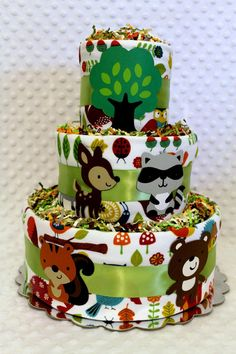 Baby Diaper Cakes Woodland Animals Forest by Diannasdiapercakes