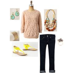 Brushed Lace Pullover/AE Artist Crops/Kulfi Strands Necklace - Polyvore - Skip the shoes...