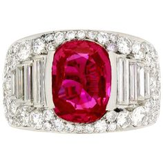 Bulgari Burmese Ruby Diamond Ring | From a unique collection of vintage cocktail rings at http://www.1stdibs.com/jewelry/rings/cocktail-rings/