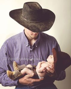 newborn photography posing cowboy boots hat father dad by juliette